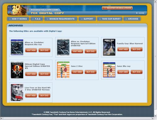 Fox Digital Copy from Blu-ray